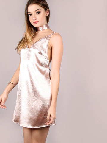 Pink Crushed Cami Dress - Crystalline