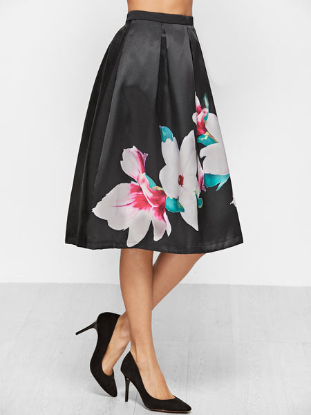 Black Flower Print Flare Skirt