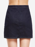 Navy Zip Denim Skirt