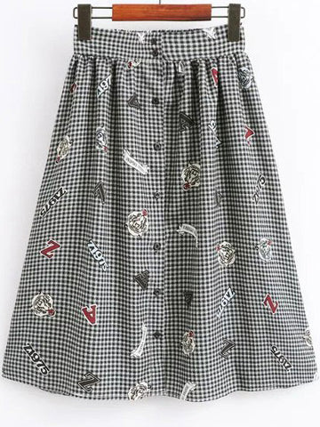 Black and White Plaid Midi Skirt