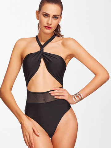 Black Twist Halter One-Piece Swimwear