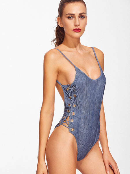 Blue Eyelet Lace Up Monokini
