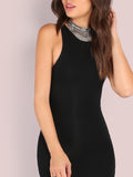 Black Racer Bodycon Dress - Crystalline