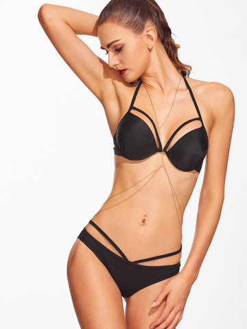 Black Cutout Push-Up Bikini Set