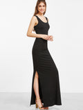 Black Scoop Neck Sleeveless Slit Dress