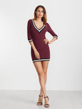 Red 3/4 Sleeve Striped Trim Bodycon Dress