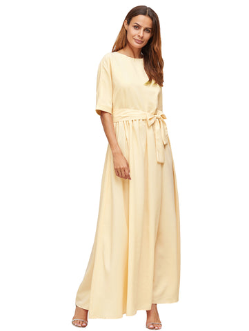 Apricot Half Sleeve Round Neck Front Tie Maxi Dress