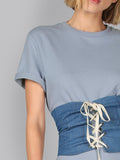 Blue Splash Curved Tee Dress