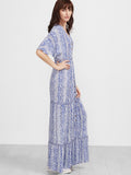 Blue Vintage Print Button Up Batwing Dress