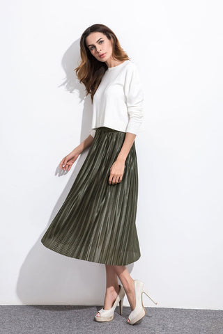 Army Green Pleated Skirt