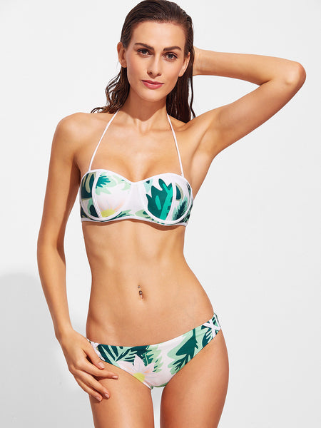 Green Tropical Print Halter Swimwear