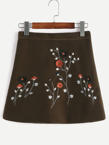 Army Green Velvet Flower A-Line Skirt