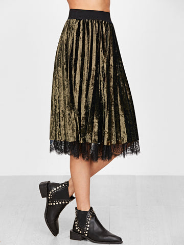 Army Green Velvet Pleated Skirt