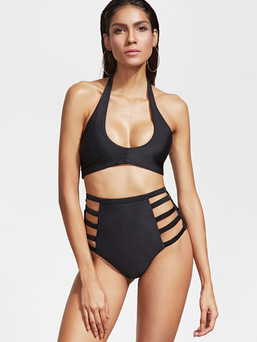 Black Halter Ladder Cutout Bikini Set