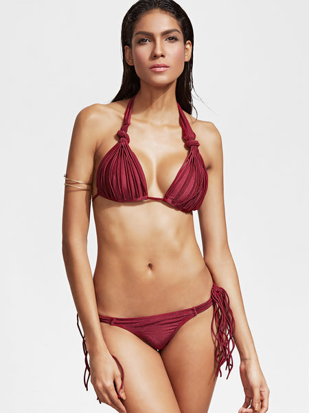 Burgundy Halter Strappy Bikini Set