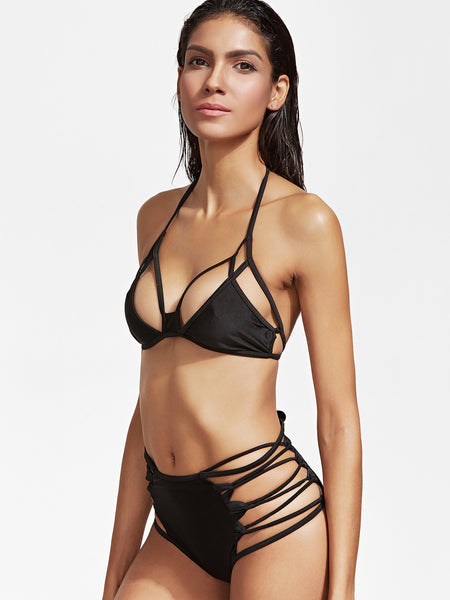 Black Cutout High Waist Bikini Set