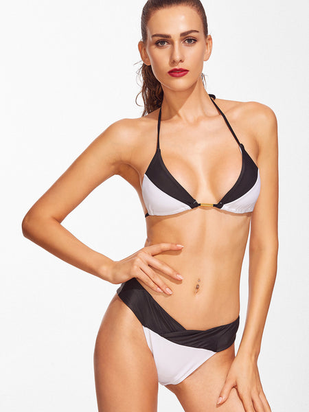 Black and White Halter Top Triangle Bikini Set