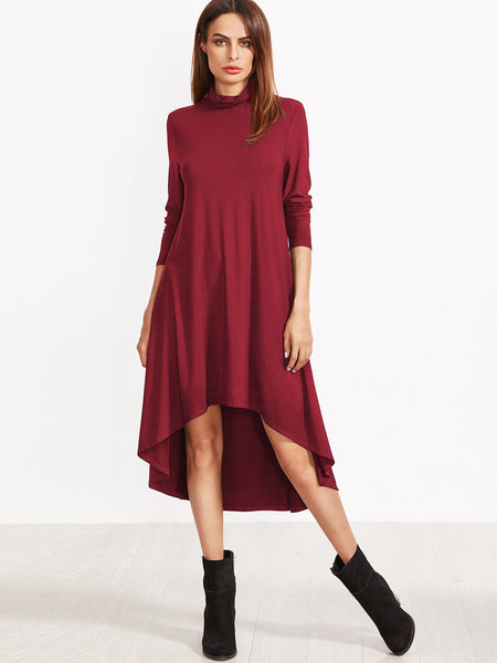 Burgundy Cowl Neck Swing Dress - Crystalline