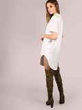 White Curved Hem Tee Dress - Crystalline