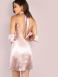 Pink V Back Cold Shoulder Dress