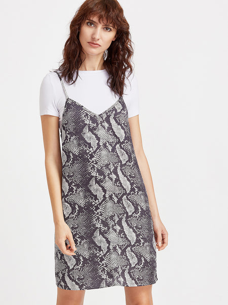 Grey Spaghetti Strap Snake Skin Print Dress