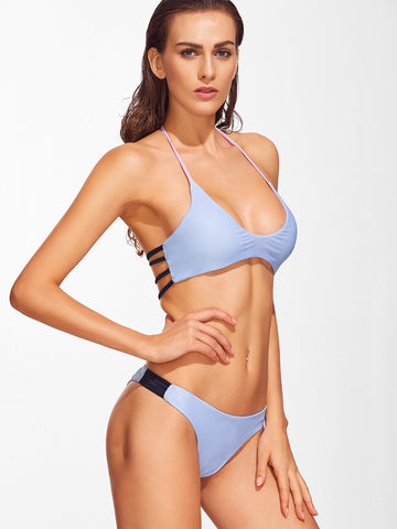 Blue Ladder Cutout Bikini Set