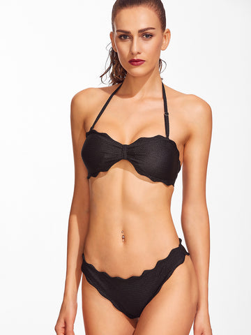 Black Scalloped Trim Halter Bikini Set
