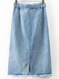 Blue Ripped Denim Skirt