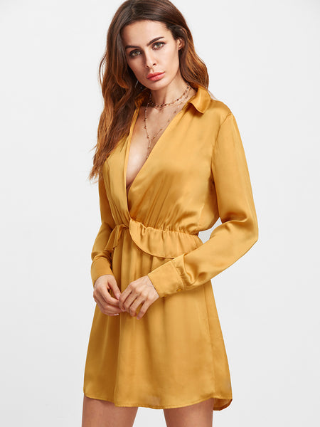 Mustard Collared Deep V Neck Long Sleeve Dress