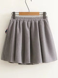 Grey A Line Skirt With Pom