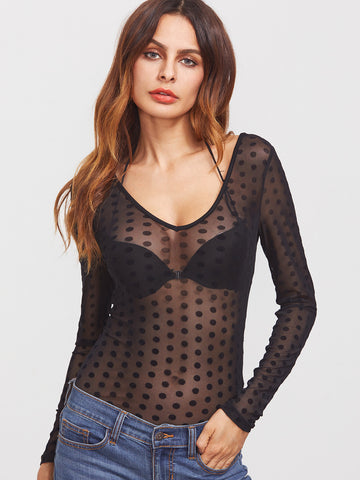 Black Mesh Polka Dot Caged Back Bodysuit