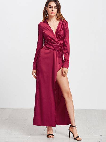 Burgundy Deep V-Neck Twist Front Long Sleeve Dress