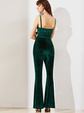 Dark Green Flared Cami Jumpsuit