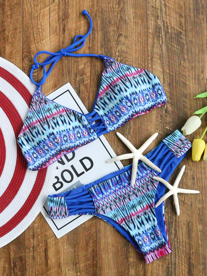 Blue Tribal Print Criss Cross Strappy Bikini Set