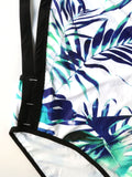 Leaf Print Black Lining One-Piece Swimwear