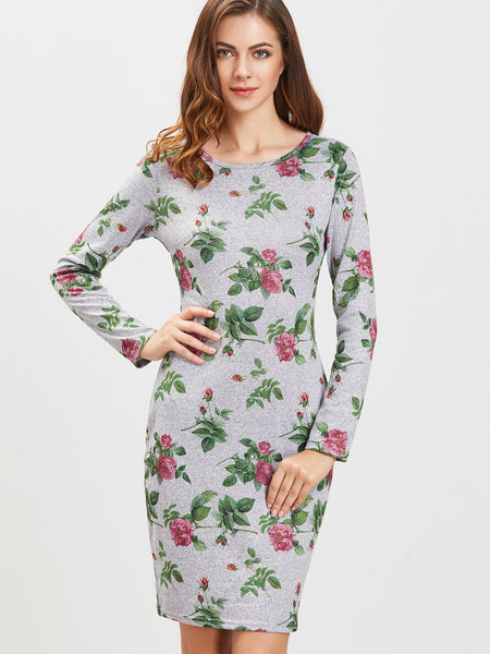 Grey Floral Print Round Neck Dress