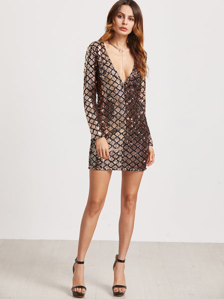 Gold Sequin Deep V Neck Bodycon Dress