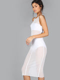High Neck Midi White Dress