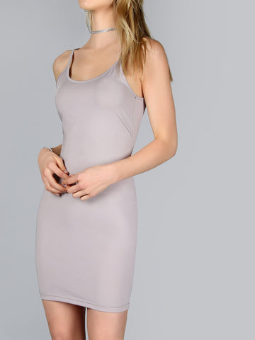 Grey Low Scoop Bodycon Dress