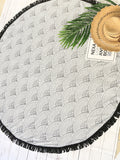 Black and White Printed Fringe Beach Blanket