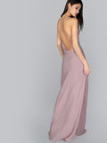 Pink Spaghetti Strap Criss Cross Backless Maxi Dress