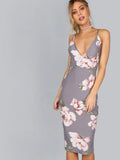 Grey Deep V-Neck Floral Design Backless Dress