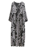 Black and White Tribal Print Lace Up Pleated Dress