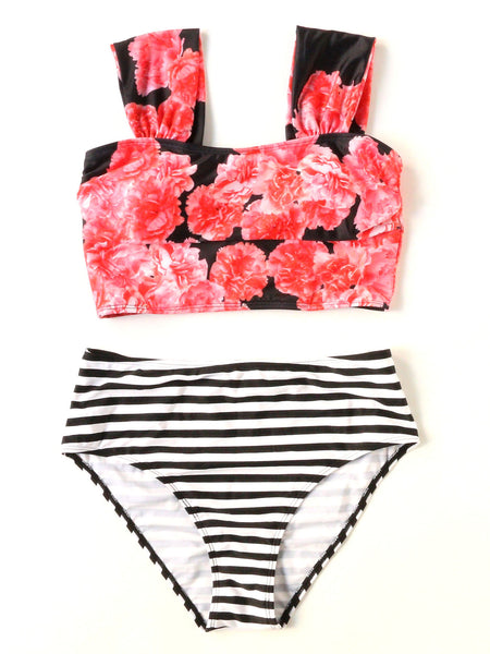 Multicolor Floral Print Top Striped Bikini Set