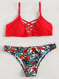 Red Criss Cross Top Floral Print Bikini Set