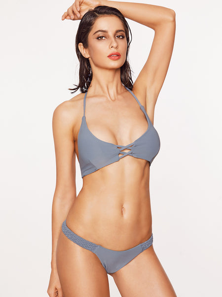 Grey Halter Braided Strap Criss Cross Bikini Set