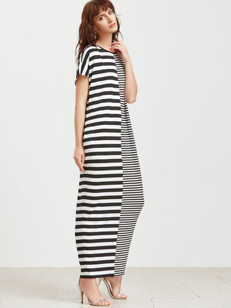 Black and White Short Sleeve Mixed Stripe Cocoon Maxi Dress
