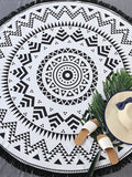 Black and White Geometric Design Fringe Trim Beach Blanket