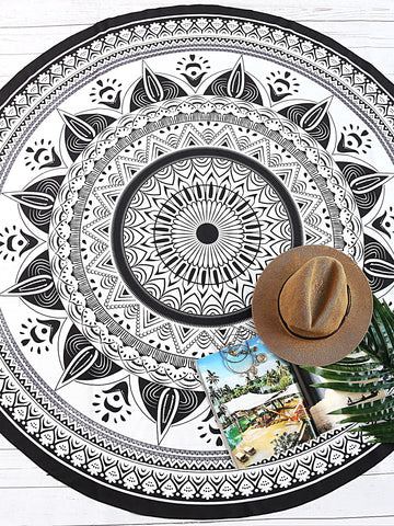 Black and White Tribal Print Round Beach Blanket