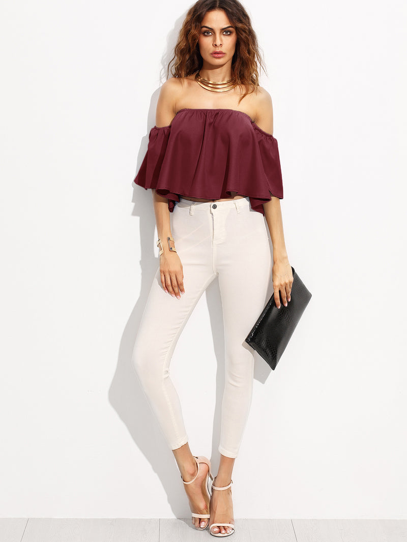 Burgundy Shirred Off The Shoulder Top